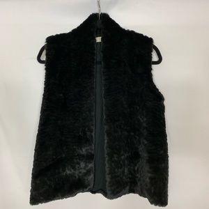 Loft Ann Black Faux Fur Front Vest Knitted Back